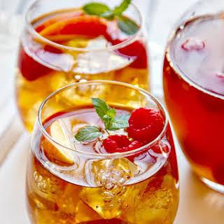 Sweet Tea Sangria {with fresh peaches & raspberries}.