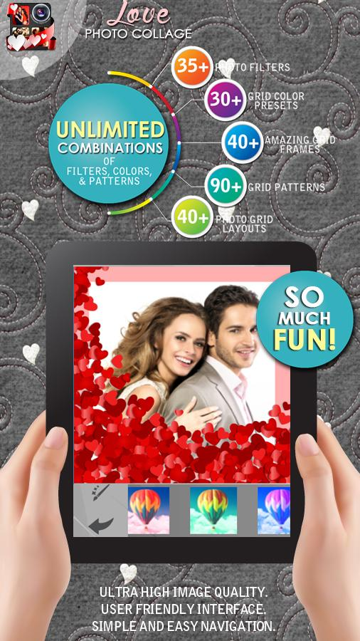 romantische bilderrahmen fotocollage erstellen android apps auf google play. Black Bedroom Furniture Sets. Home Design Ideas