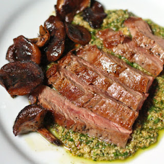 Pan-Seared Flank Steak with Shiitake Mushrooms and Pumpkin Seed Sauce