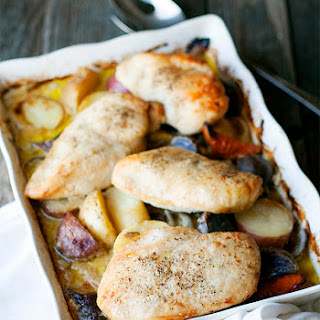 One Pan Baked Chicken With Potatoes And Vegetables