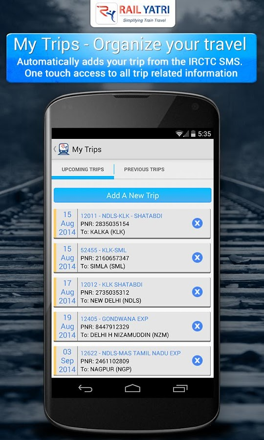 Indian Railways PNR Time Table - screenshot