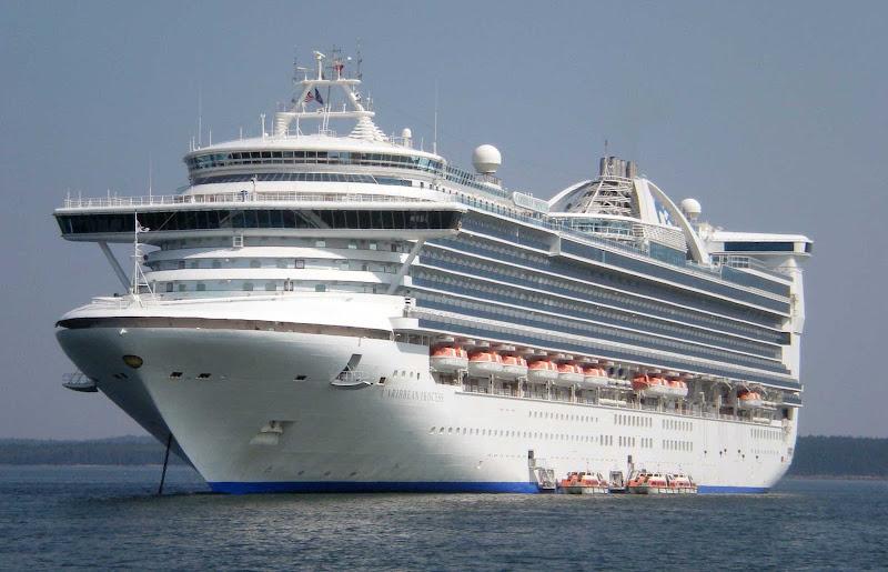 Caribbean Princess anchored in Bar Harbor, Maine.