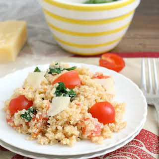 Quinoa with Roasted Garlic, Tomatoes, and Spinach.