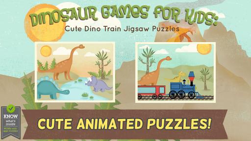 孩子們的恐龍遊戲:幼稚園的可愛恐龍火車拼圖遊戲