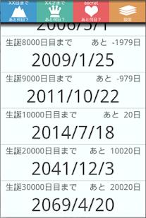 10000days 通算誕生日の計算とか