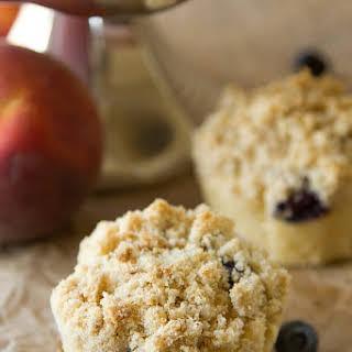 Blueberry Peach Coffee Cake Muffins.