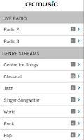 Screenshot of CBC Music