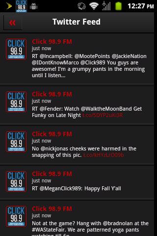 Click 98.9 - screenshot