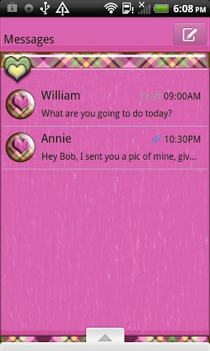 GO SMS THEME PlaidHearts2U