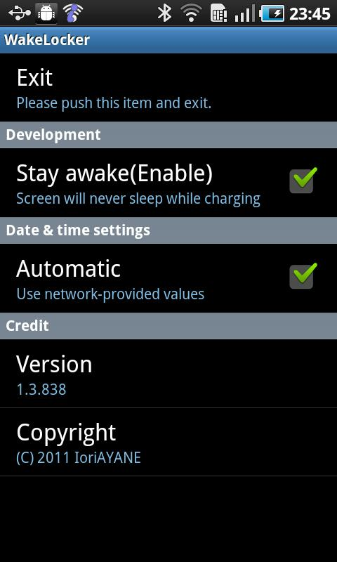 WakeLocker for Galaxy S- screenshot