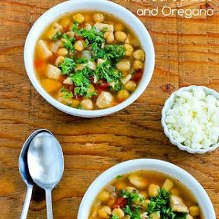 Greek Chicken Soup with Garbanzos and Oregano.