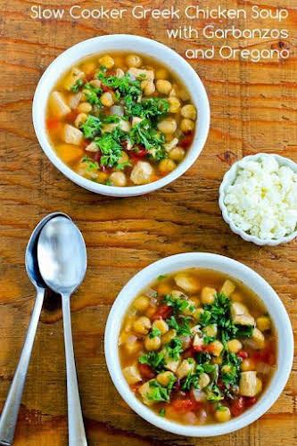Greek Chicken Soup with Garbanzos and Oregano