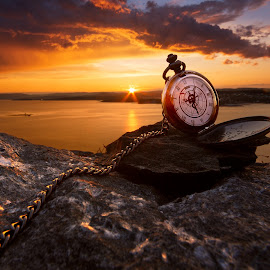 Beautiful Time by Thomas Jergel - Artistic Objects Clothing & Accessories ( time, pocket watch, steinkjer, waterscape, chain, sunset, sea, cloudscape, conceptual, norway, object,  )