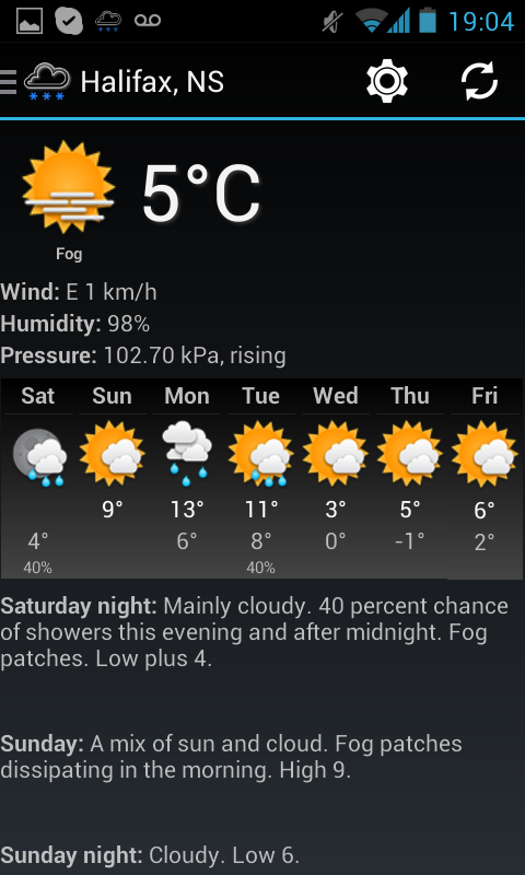 Canadian Weather - screenshot