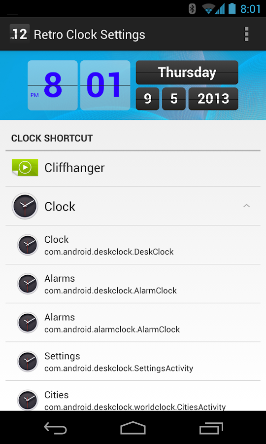 Retro Clock Settings - screenshot