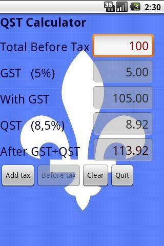 QST Calculator (Free) - screenshot