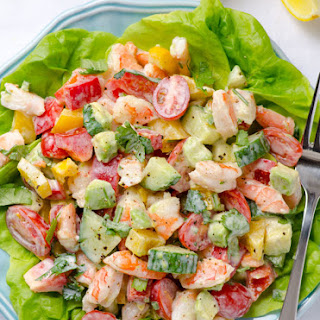 Greek Yogurt Shrimp, Avocado and Tomato Salad.