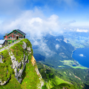Schafberg, Austria by Tomas Vocelka - Landscapes Mountains & Hills ( clouds, europe, lakes, tourism, schafberg, travel, panorama, vertigo, summer, view, stunning, salzkammergut, austria )