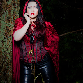 Red by James Casson - People Portraits of Women ( sexy, red, riding, boudoir, dark, cloak, flaunt your beauty, hood,  )