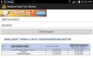 Screenshot of Malaysia Road Tax Checker