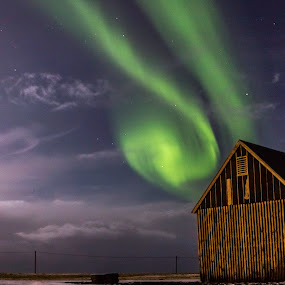 The old shack on the point  by Kristvin Guðmundsson - Buildings & Architecture Decaying & Abandoned ( canon, iceland, blue, stars, green, snow, aurora borealis, aurora, 60d, white, weather, canon60d, , Earth, Light, Landscapes, Views )