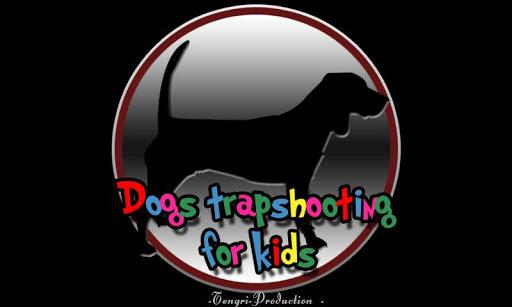 狗和飞靶射击的孩子