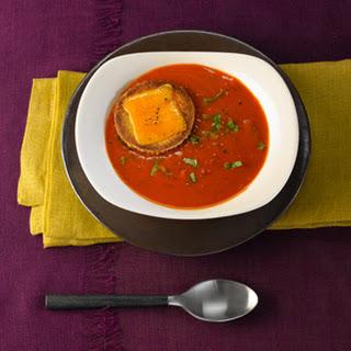 Creamy Tomato Basil Soup With Cheddar Croűte.