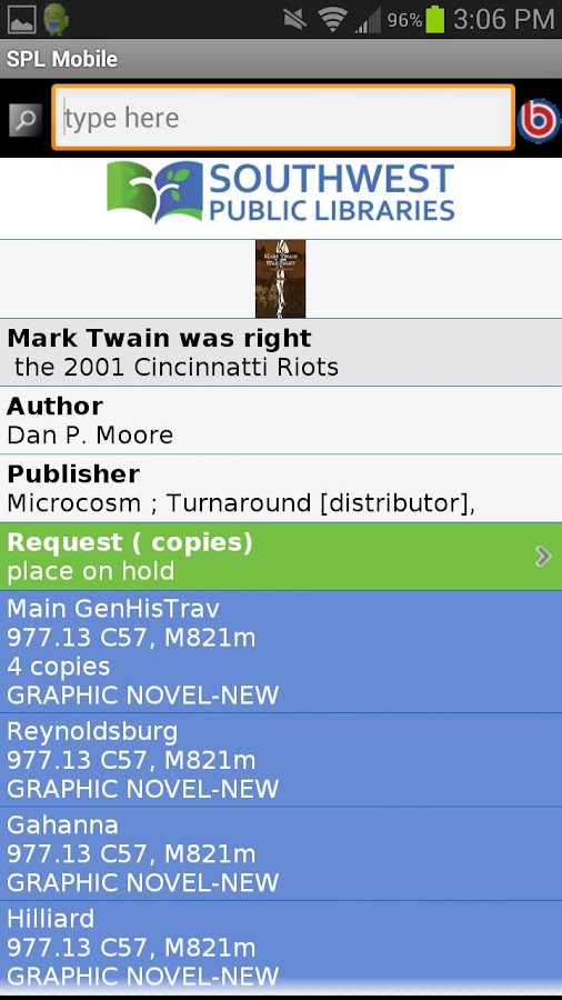 Southwest Public Libraries- screenshot