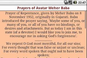 Screenshot of Prayers of Avatar Meher Baba