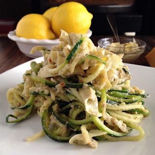 Lemon Artichoke Pesto with Zucchini Noodles