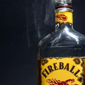 Smokin Hot by Jonathon Rader - Food & Drink Alcohol & Drinks ( stlll life, light painting, whiskey, smoke, fireball,  )