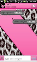 Screenshot of GO SMS THEME/PnkWhtLeopard