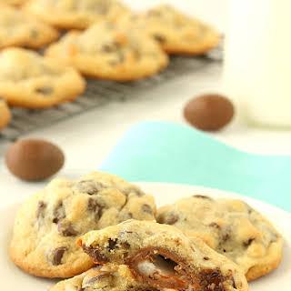 Creme Egg Stuffed Chocolate Chip Cookies.