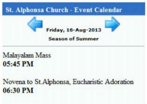 St. Alphonsa Church Calendar