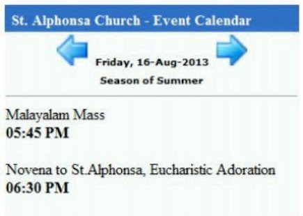 St. Alphonsa Church Calendar- screenshot thumbnail