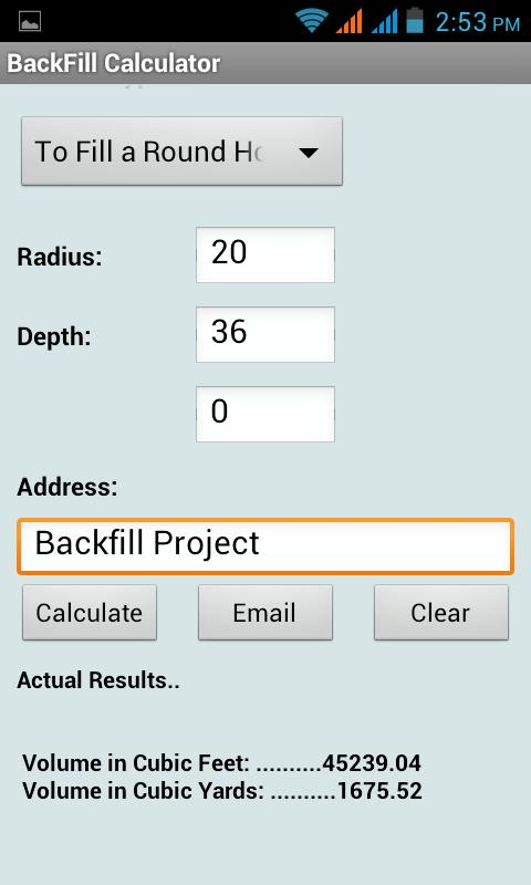 Back fill calculator android apps on google play for Soil removal calculator
