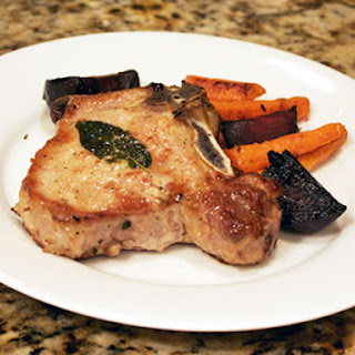Roasted Carrots and Beets with Pork Chops.