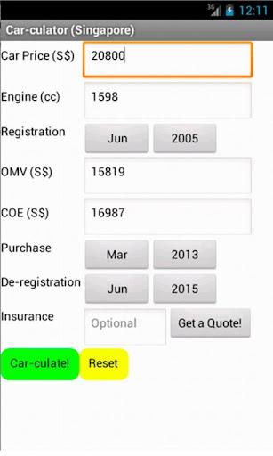 Car Cost Calculator Singapore