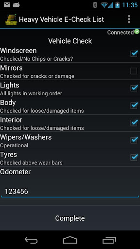 Heavy Vehicle E-Check List