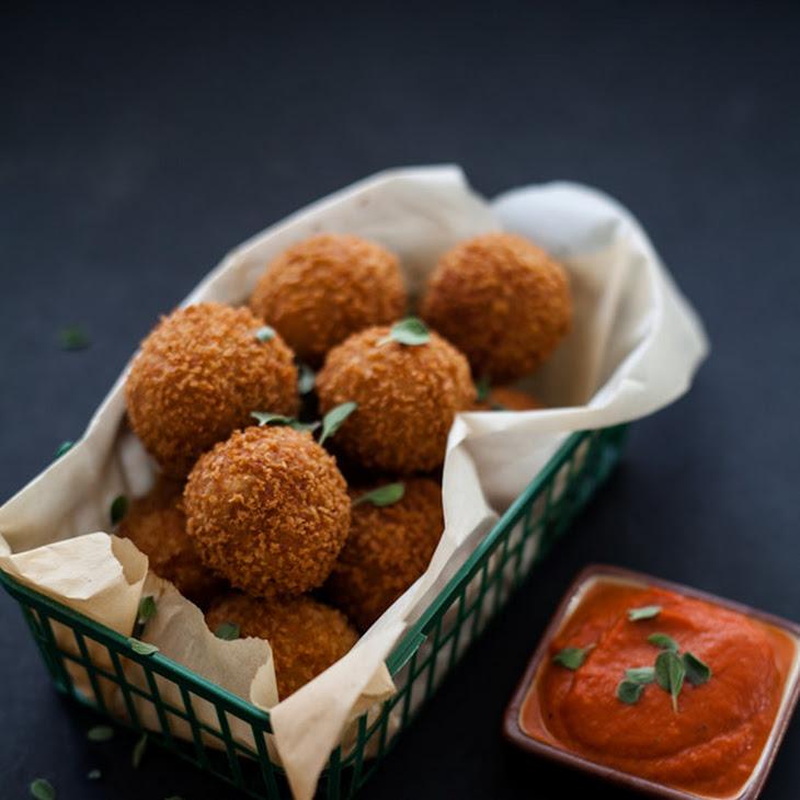 Potato Cheese Balls & Marjoram Tomato Dip Recipe