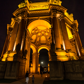 Palace of Fine Arts close up at night by Kathy Dee - Buildings & Architecture Public & Historical ( lights, arts, at night, artistic, full moon, architecture, historical, san francscio, palace, lighted, fine, golden, city at night, street at night, park at night, nightlife, night life, nighttime in the city )
