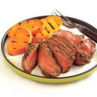 Grainy Mustard Steaks with Sweet Potatoes.