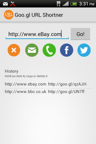 Goo.gl URL Shortener + - screenshot