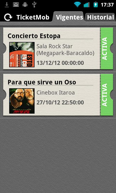 Ticket Mob: captura de pantalla