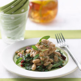 Braised Chicken With White Beans & Baby Spinach.