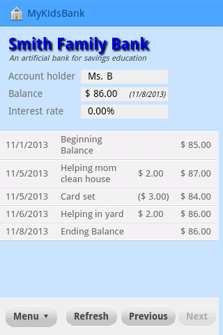 MyKidsBank- screenshot