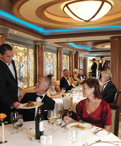 The Queens Grill restaurant aboard Queen Mary 2 is renowned for its cuisine. In 2014 Stern's Guide to the Cruise Vacation awarded it 6 out of 6 stars.