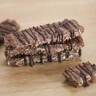 Crispy Chocolate Coconut Protein Bars.