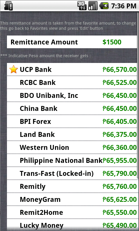 Philippines Peso Exchange Rate - screenshot