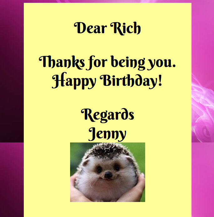 Birthday eCard- screenshot